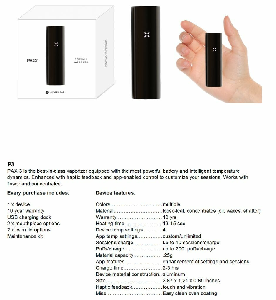New Pax Specifications